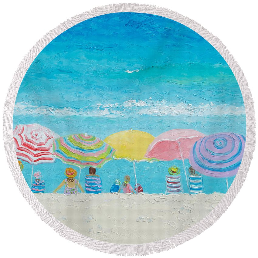 Beach Round Beach Towel featuring the painting Beach Painting - Color Of Summer by Jan Matson