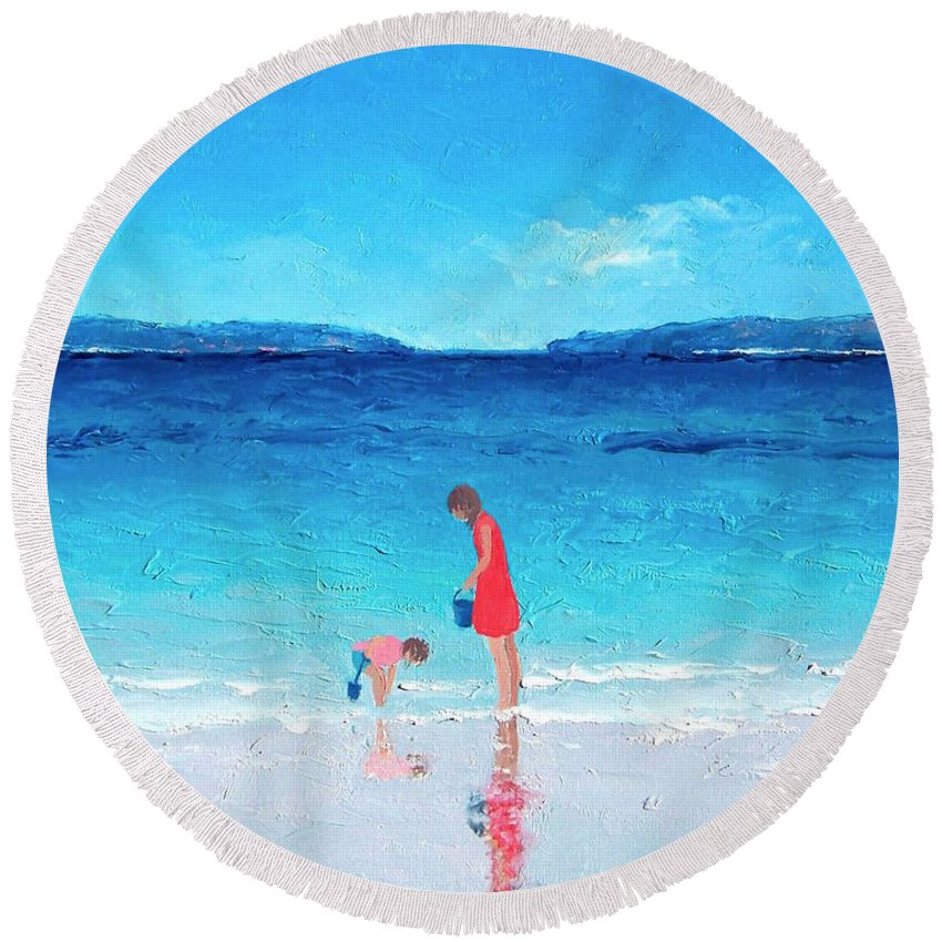 Beach Round Beach Towel featuring the painting Beach Painting - Cooling Off by Jan Matson