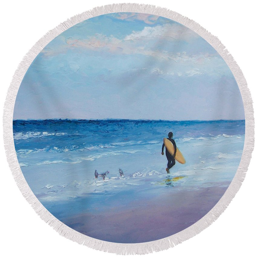 Beach Round Beach Towel featuring the painting Beach Painting - The Lone Surfer by Jan Matson