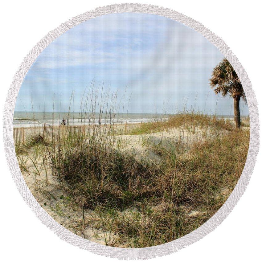 Beach Round Beach Towel featuring the photograph Beach Path by Angela Rath