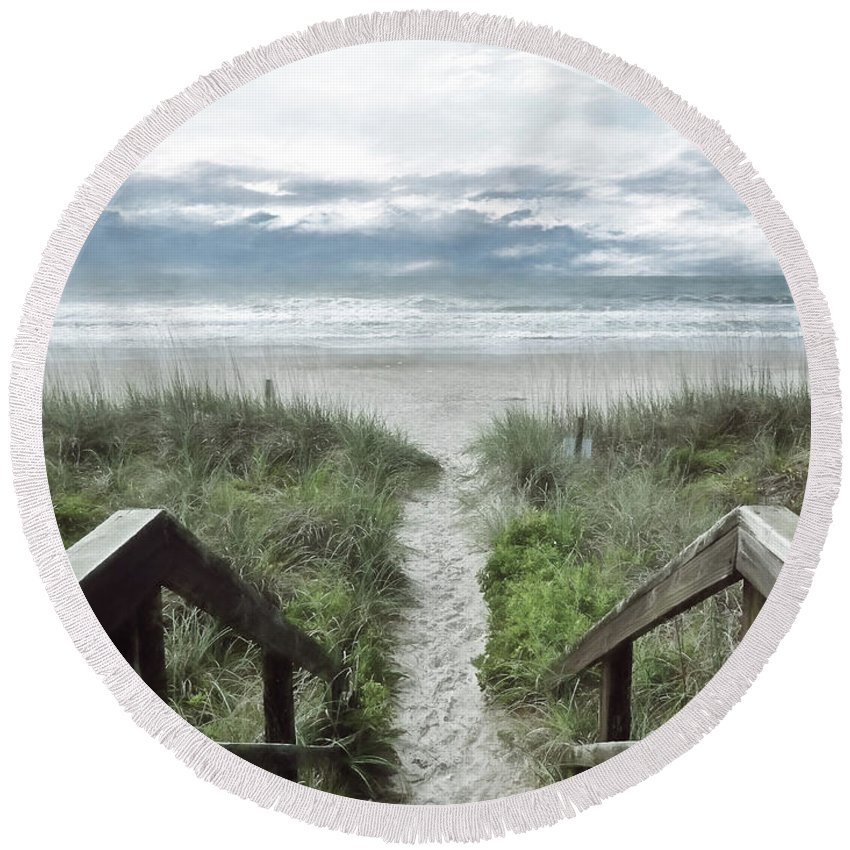 North Carolina Round Beach Towel featuring the photograph Beach Path by Kelley Freel-Ebner
