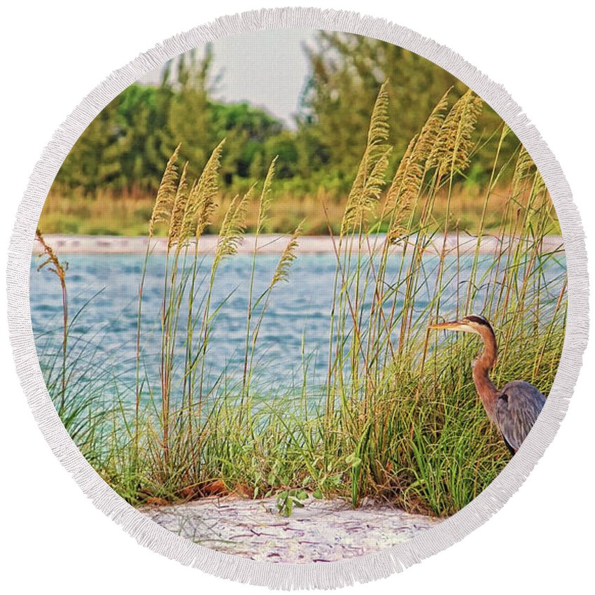 Great Blue Heron Round Beach Towel featuring the photograph Beach Patrol by HH Photography of Florida