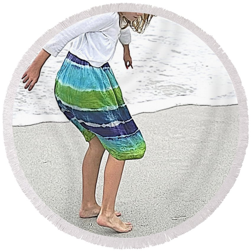 America Round Beach Towel featuring the mixed media Beach Play Time by Jennifer White