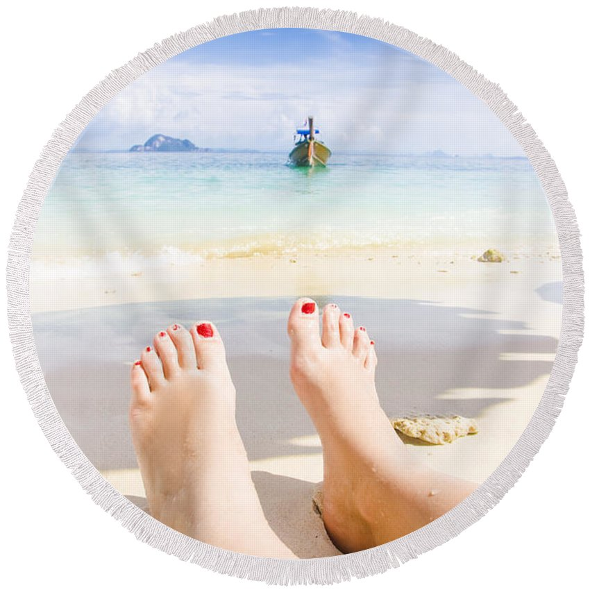 Vacation Round Beach Towel featuring the photograph Beach by Jorgo Photography - Wall Art Gallery