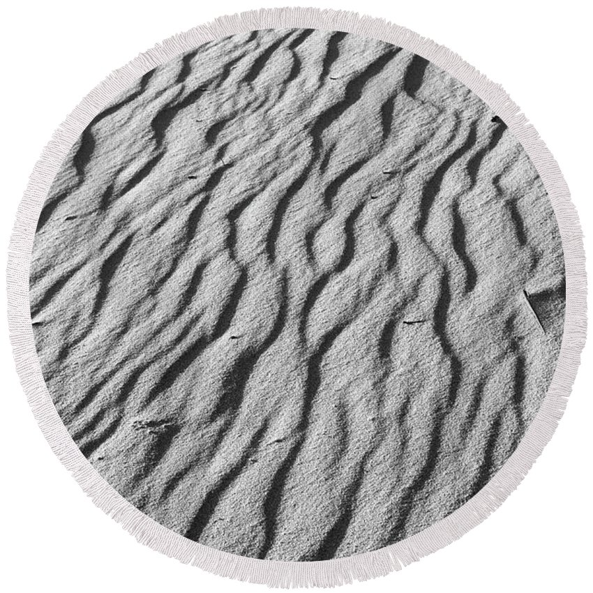 Minimal Round Beach Towel featuring the photograph Beach Sand Mantle In Monochrome by Angelo DeVal