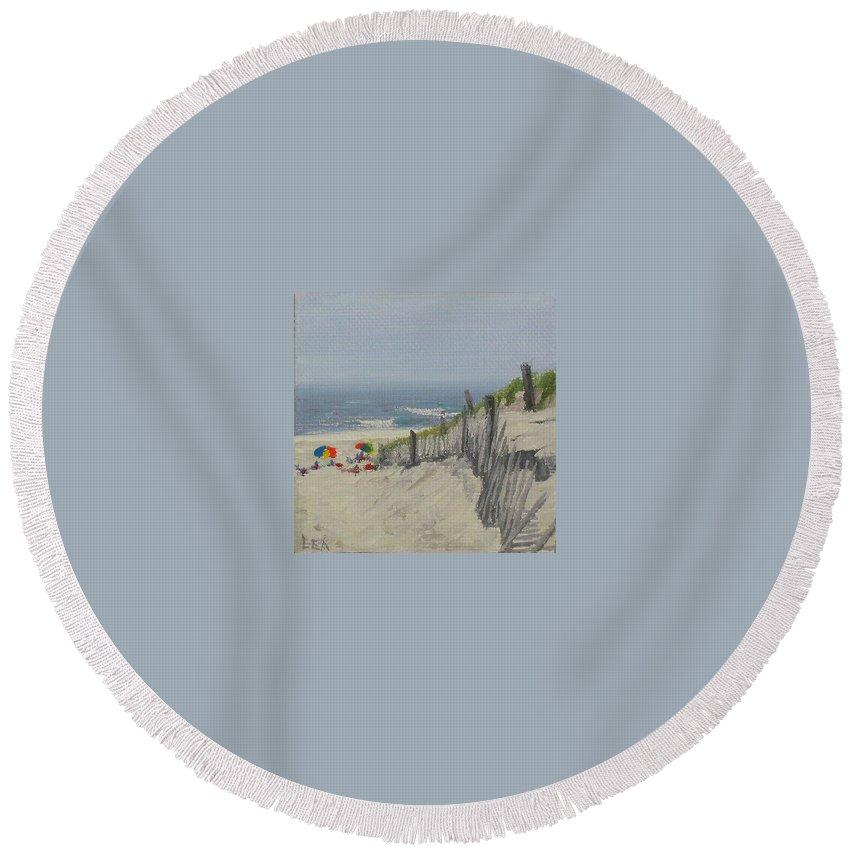 Beach Round Beach Towel featuring the painting Beach Scene Miniature by Lea Novak