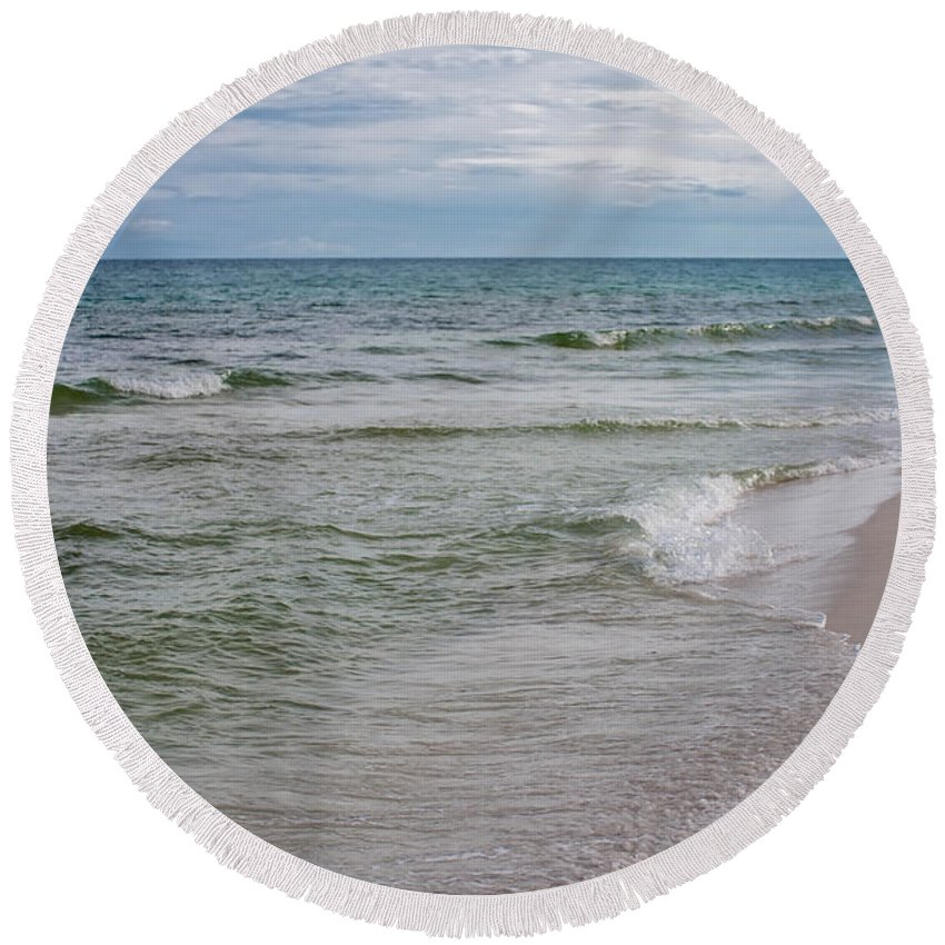 Beach Serenity Round Beach Towel featuring the photograph Beach Serenity by Mechala Matthews