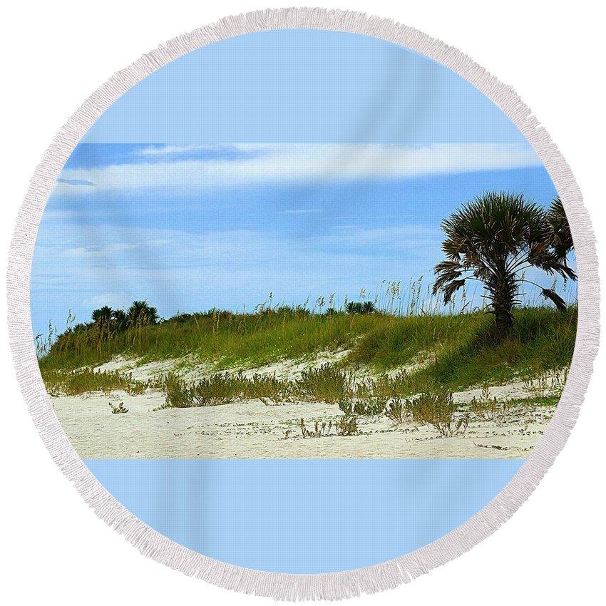 Beach Round Beach Towel featuring the photograph Beach Solitude by Paul Wilford