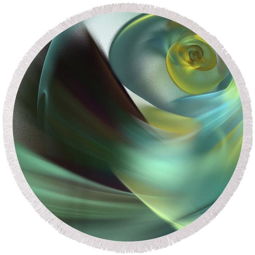 Apophysis Round Beach Towel featuring the digital art Beach Spiral by Kim Sy Ok