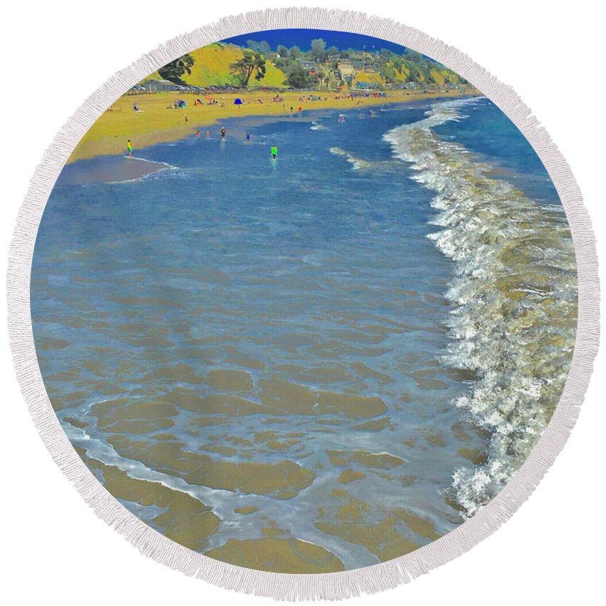 Beach Summer Midday Midweek Round Beach Towel featuring the photograph Beach Summer Midday Midweek by Scott L Holtslander