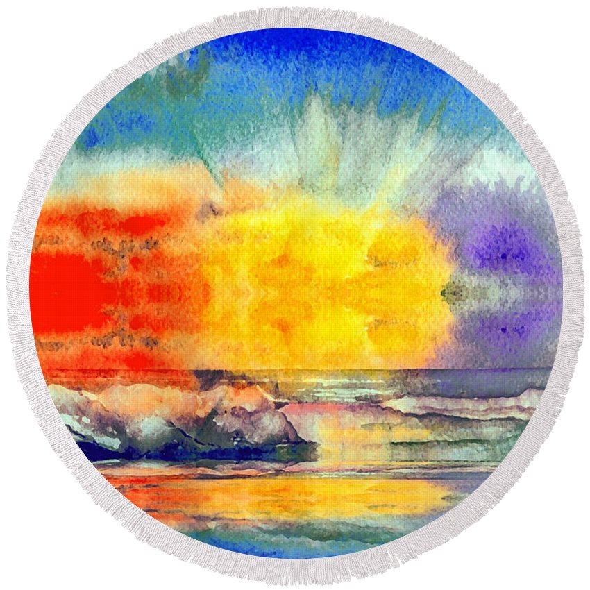 Landscape Round Beach Towel featuring the painting Beach Sunset by Brenda Owen