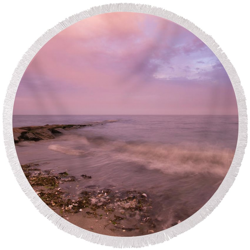 Beach Round Beach Towel featuring the photograph Beach Sunset In Connecticut Landscape by Stephanie McDowell