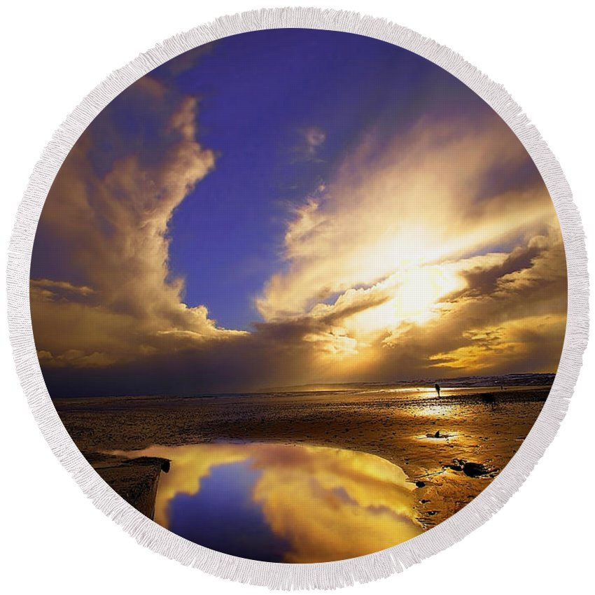 Beach Round Beach Towel featuring the photograph Beach Sunset by Svetlana Sewell