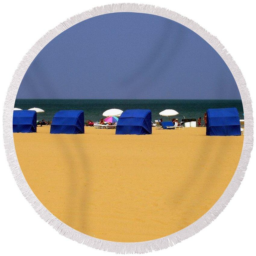 Beach Round Beach Towel featuring the photograph Beach Tents by Deborah Crew-Johnson