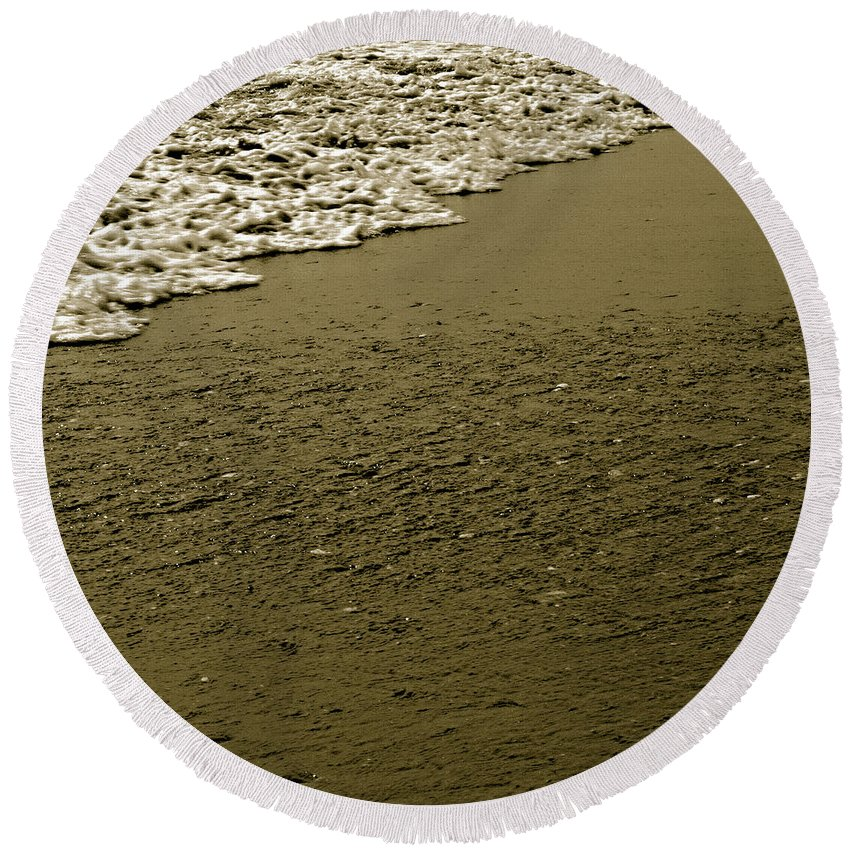 Water Round Beach Towel featuring the photograph Beach Texture by Jean Macaluso