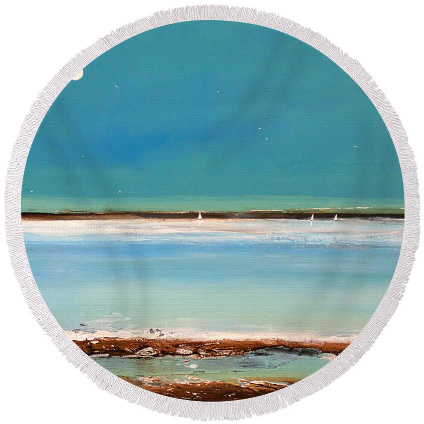 Landscape Round Beach Towel featuring the painting Beach Textures by Toni Grote