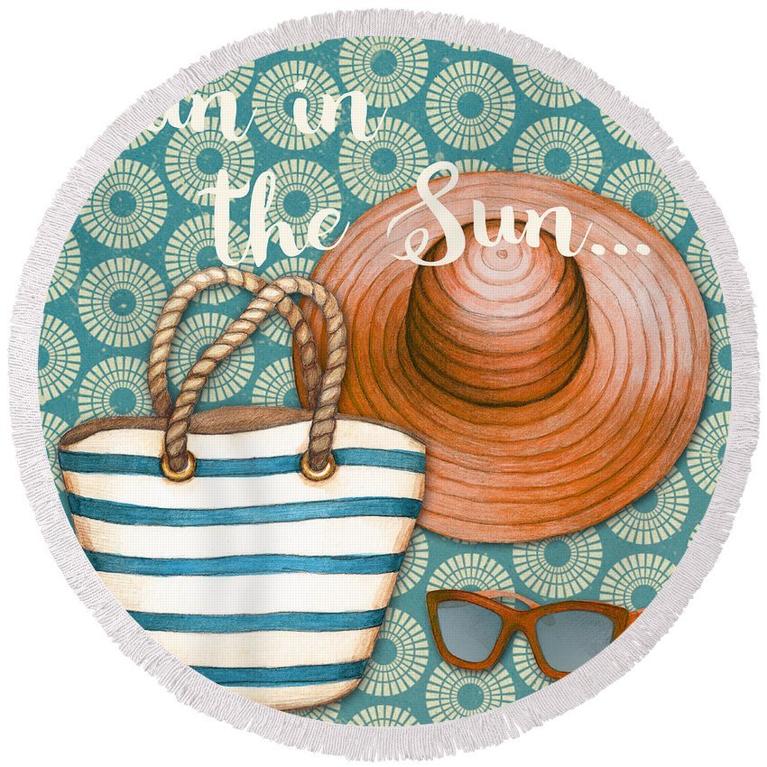 Beach Round Beach Towel featuring the painting Beach Time-jp3618 by Jean Plout
