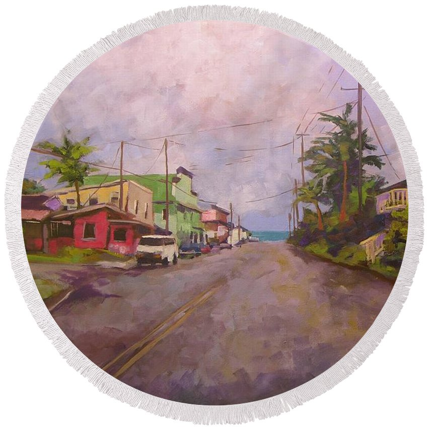 Tropical Round Beach Towel featuring the painting Beach Town by Mary McInnis
