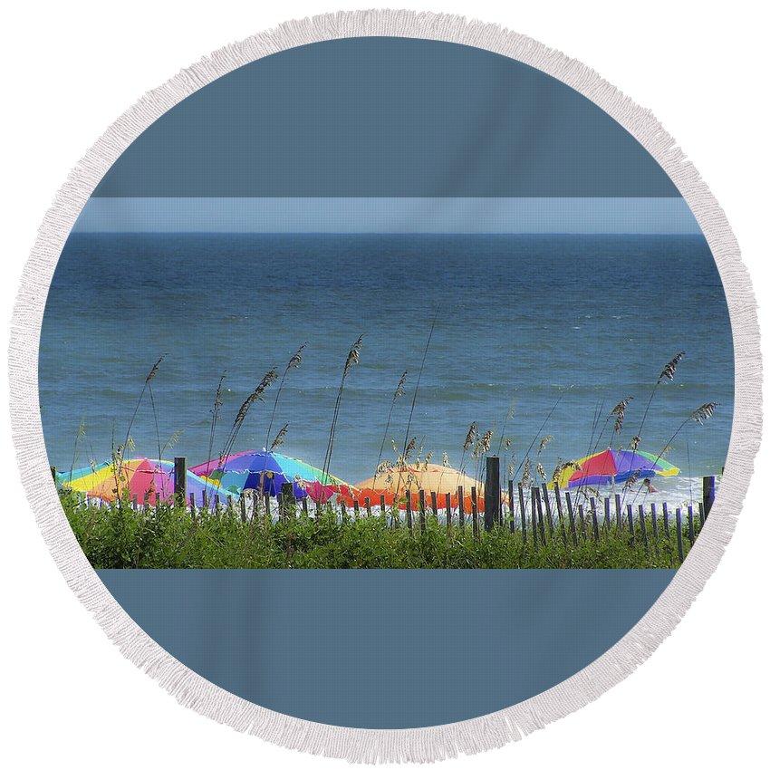 Beach Round Beach Towel featuring the photograph Beach Umbrellas by Teresa Mucha
