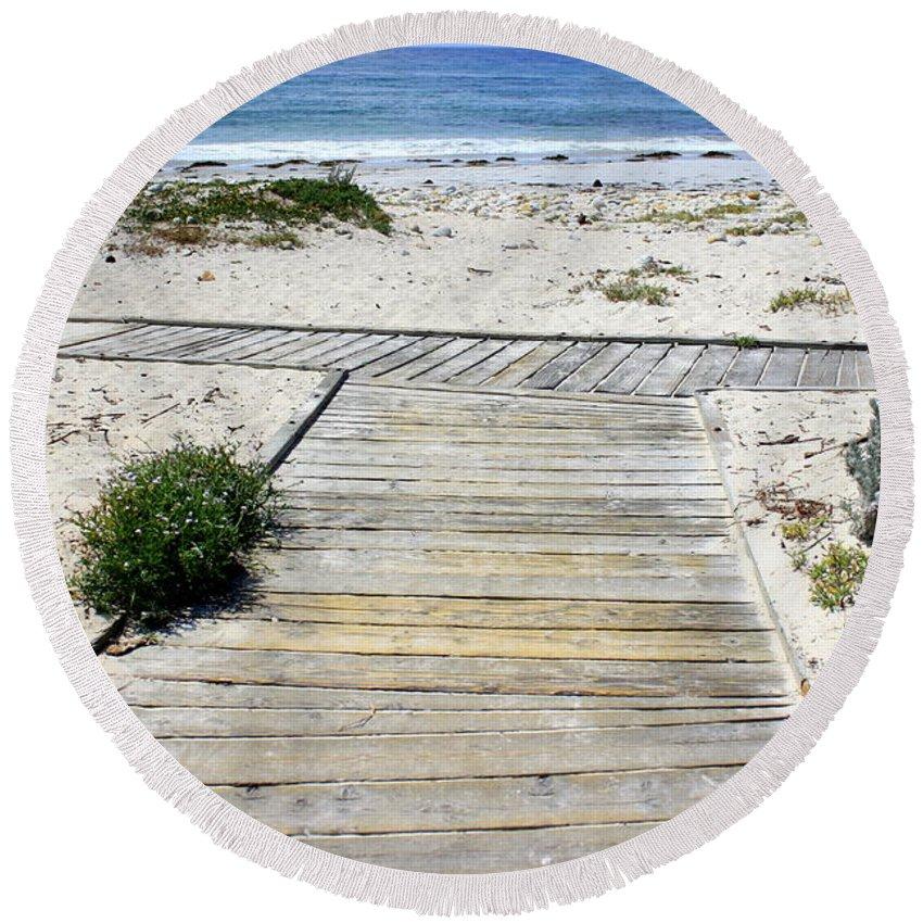 Ocean Round Beach Towel featuring the photograph Beach Walk by Carol Groenen