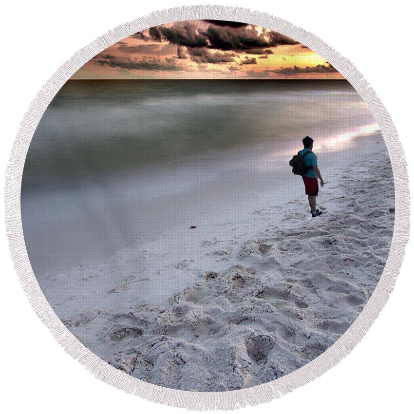 Sunset Round Beach Towel featuring the photograph Beach Walk by James Hennis