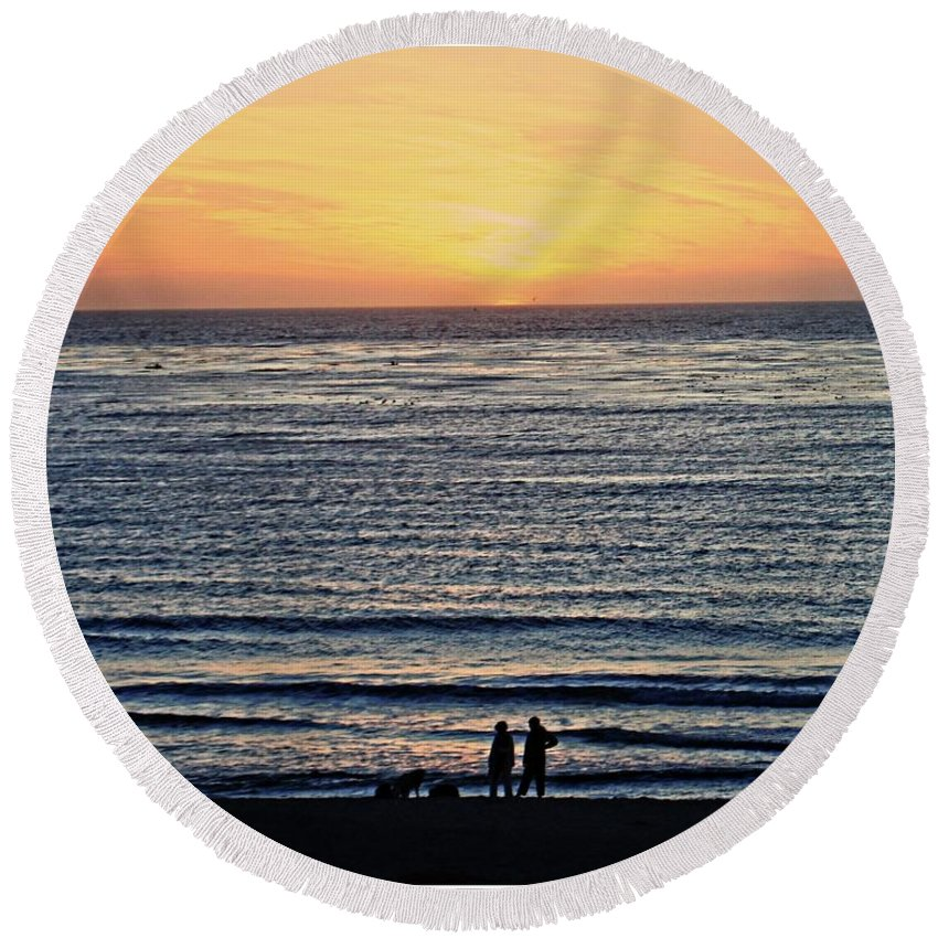 Beach Round Beach Towel featuring the photograph Beach Walk by Roger Skougard