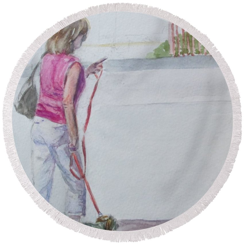 Beach Round Beach Towel featuring the painting Beach Walking by Katherine Berlin