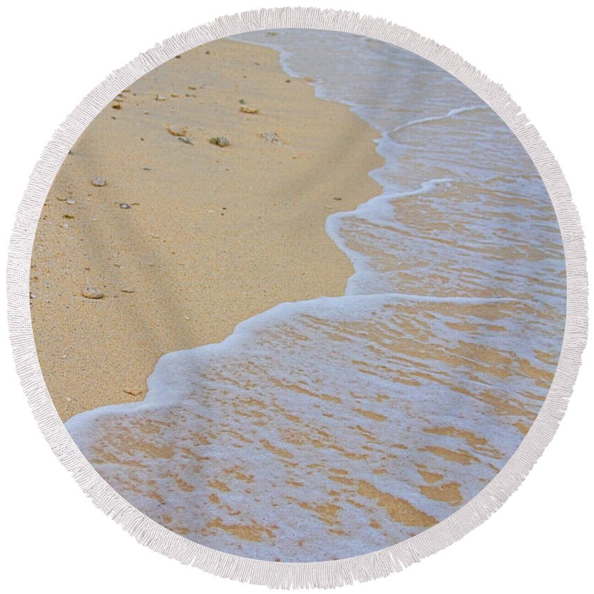 stock Images Round Beach Towel featuring the photograph Beach Water Curves by James BO Insogna