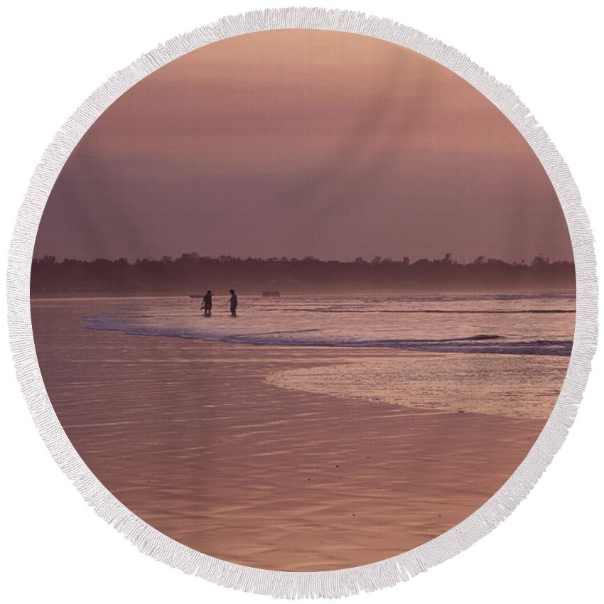 Ecuador Round Beach Towel featuring the photograph Beachcombers by Kathy McClure