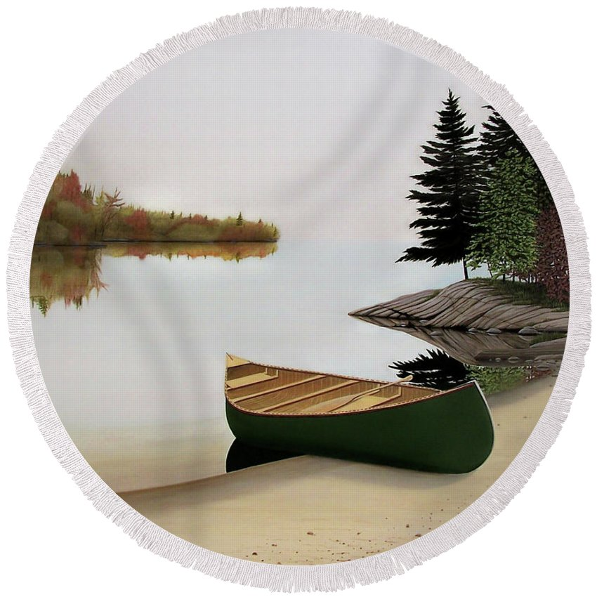 Canoe Paintings Round Beach Towel featuring the painting Beached Canoe In Muskoka by Kenneth M Kirsch
