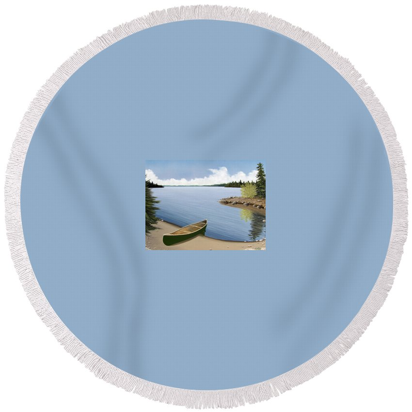 Canoe Round Beach Towel featuring the painting Beached In Ontario by Kenneth M Kirsch