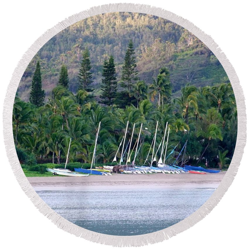 Hanalei Bay Round Beach Towel featuring the photograph Beached Overnight by Mary Deal