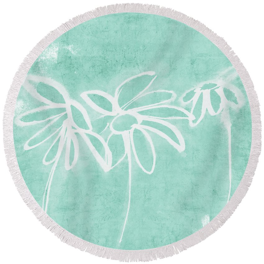 Flowers Round Beach Towel featuring the mixed media Beachglass and White Flowers 3- Art by Linda Woods by Linda Woods