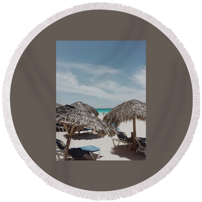 Straw Umbrellas Round Beach Towel featuring the photograph Beachside by Eloviano Maya