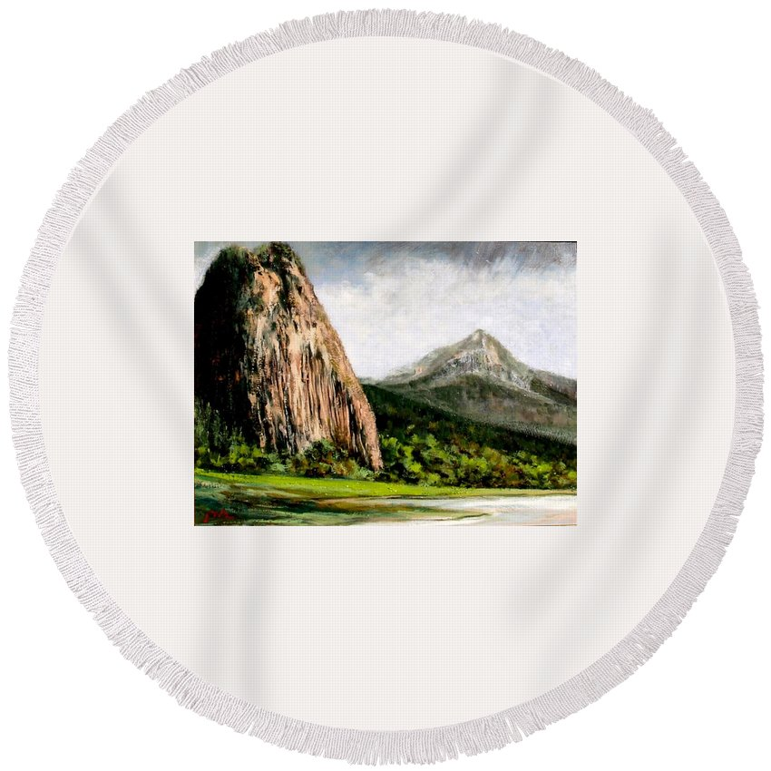 Landscape Round Beach Towel featuring the painting Beacon Rock Washington by Jim Gola