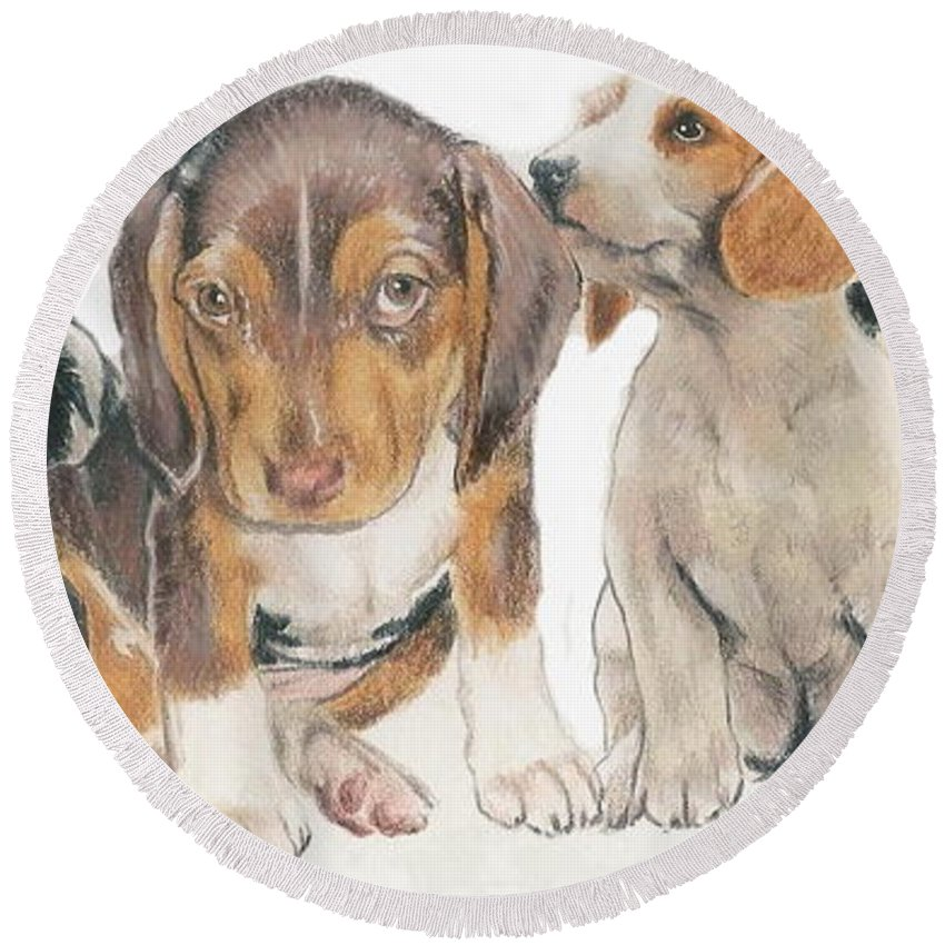 Hound Group Round Beach Towel featuring the mixed media Beagle Puppies by Barbara Keith