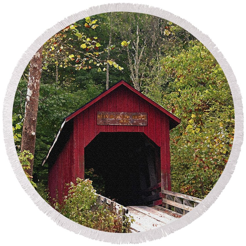Covered Bridge Round Beach Towel featuring the photograph Bean Blossom Bridge I by Margie Wildblood