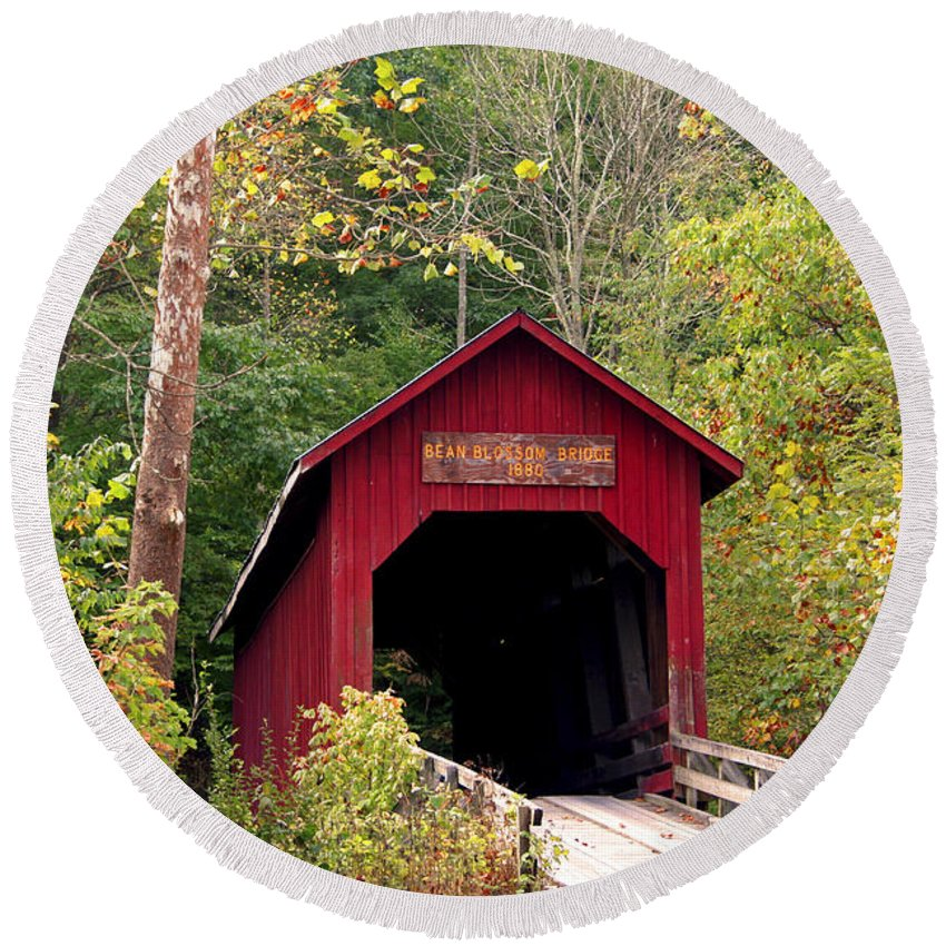 Covered Bridge Round Beach Towel featuring the photograph Bean Blossom Bridge II by Margie Wildblood