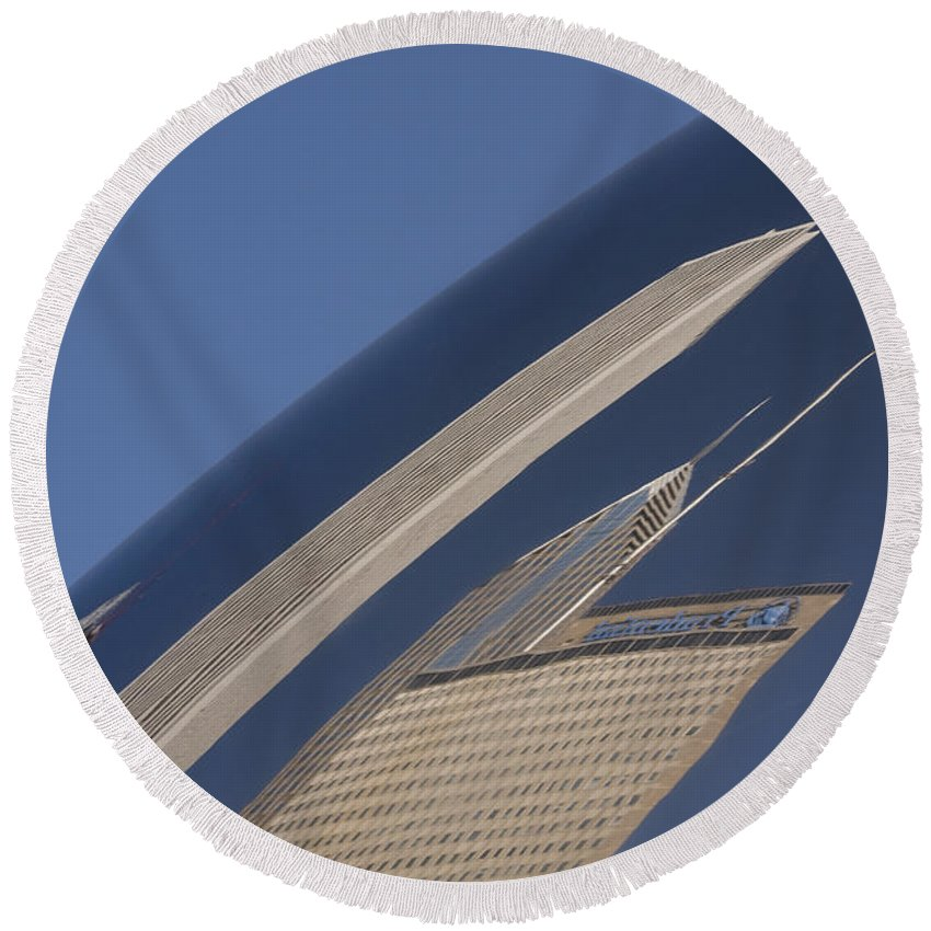 Chicago Windy City Wind Sky Blue Bean Reflection Art Park Building City Metro Urban Round Beach Towel featuring the photograph Bean Reflection by Andrei Shliakhau