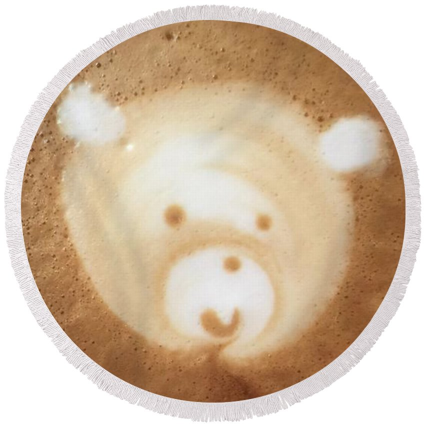 Barista Round Beach Towel featuring the photograph Bear Cup Latte by Susan Garren
