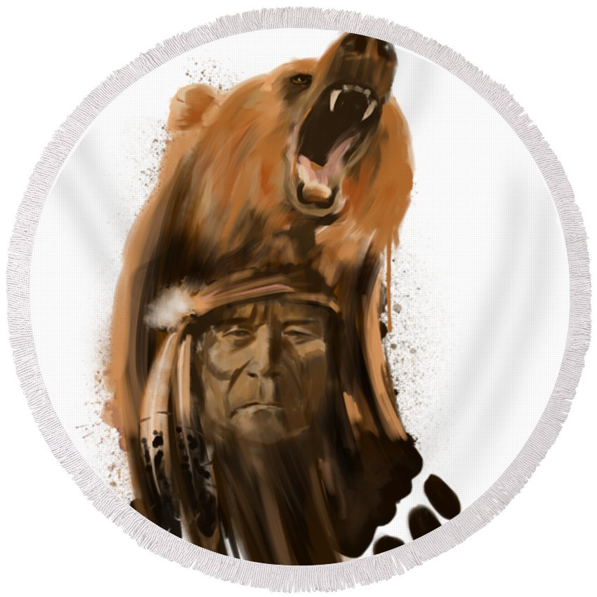 Grizzly Bear Round Beach Towels
