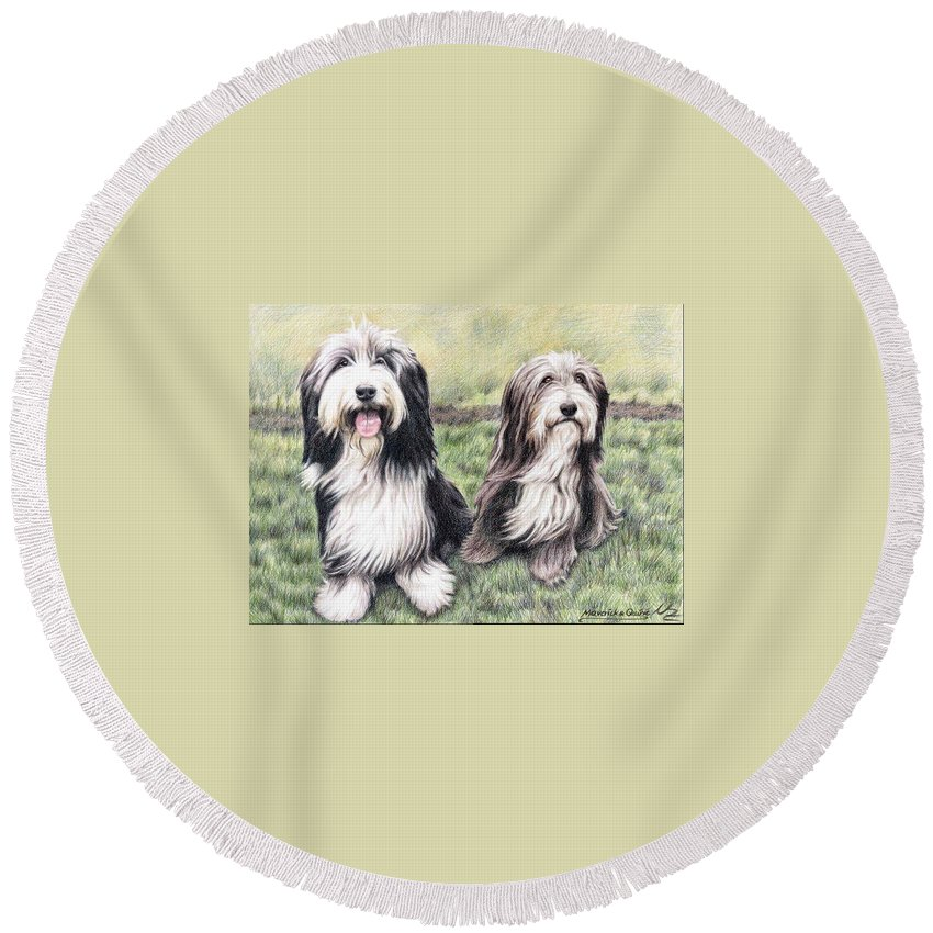Dogs Round Beach Towel featuring the drawing Bearded Collies by Nicole Zeug