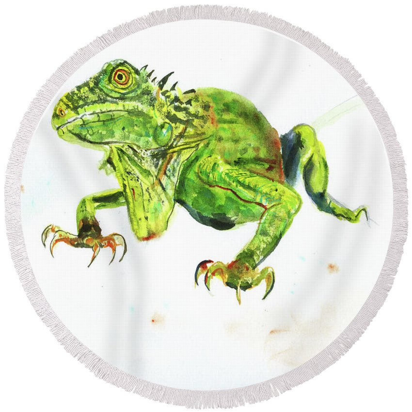 Watercolor Reptile Round Beach Towel featuring the painting Iguana by Elizabeth Way
