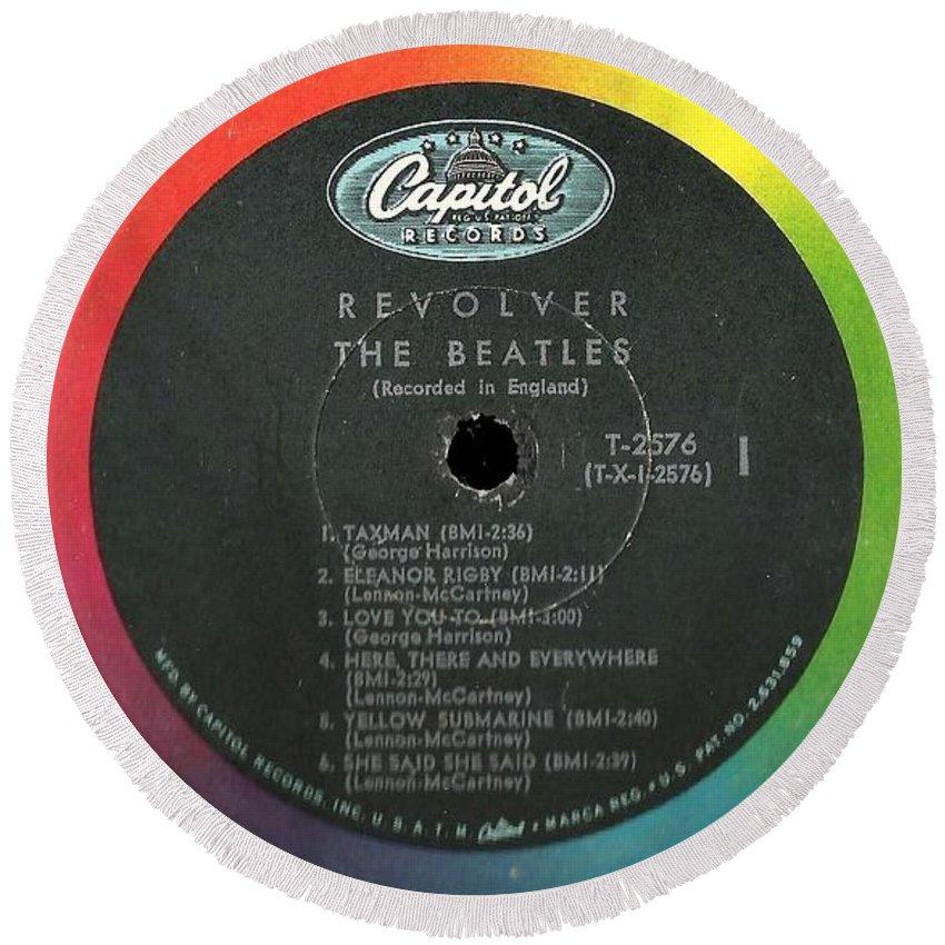 Beatles Round Beach Towel featuring the digital art Beatles Revolver Rainbow Lp Label by Doug Siegel