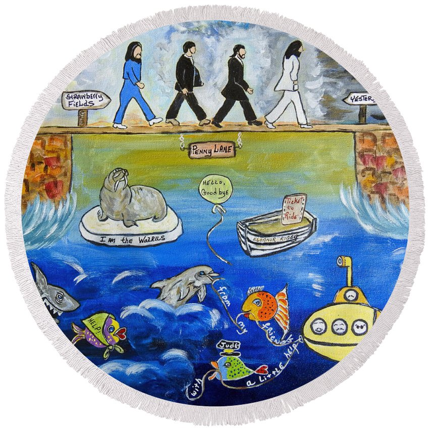 The Beatles Round Beach Towel featuring the painting Beatles Song Titles Original Painting Characterization by Ella Kaye Dickey