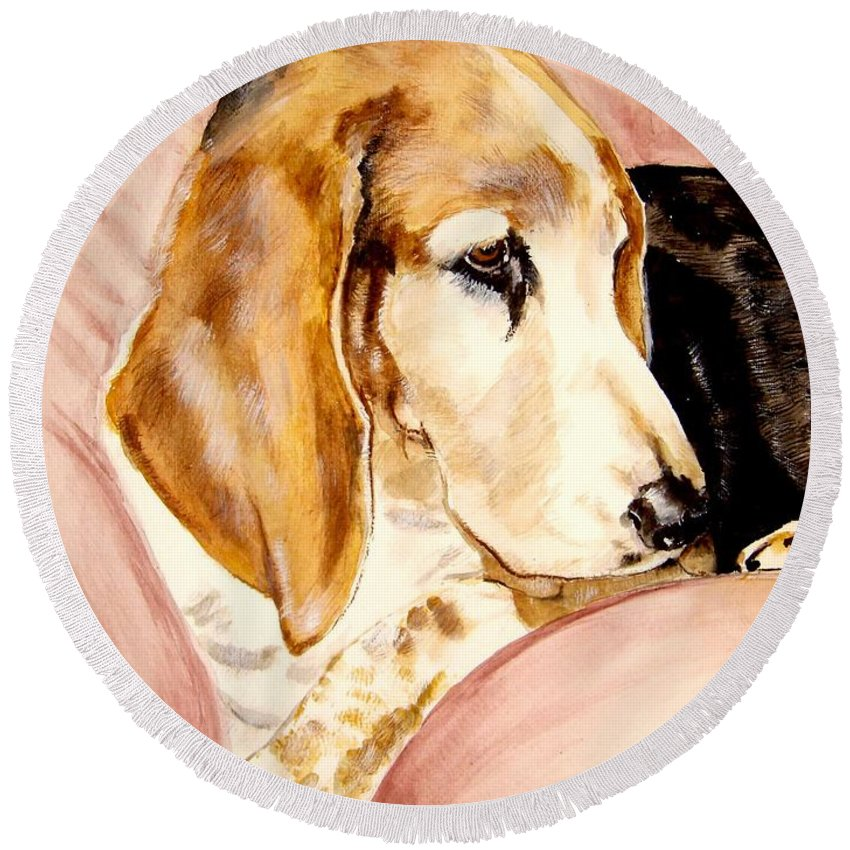 Basset Hound Painting Round Beach Towel featuring the painting Beau by Carol Blackhurst