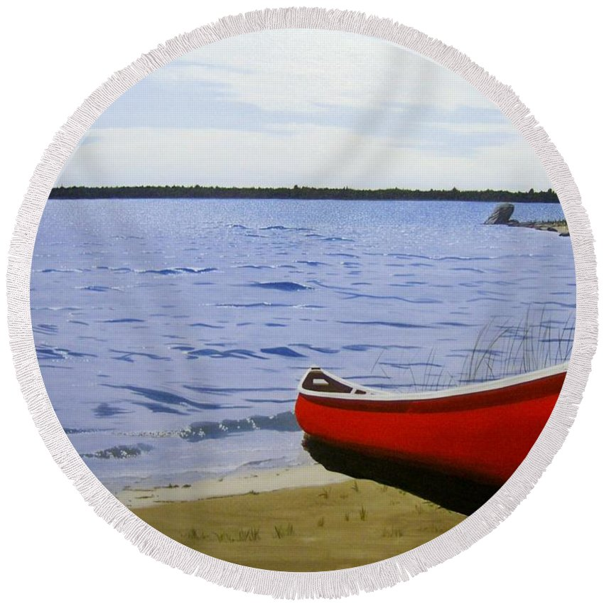 Landscpaes Round Beach Towel featuring the painting Beaultiful Red Canoe by Kenneth M Kirsch