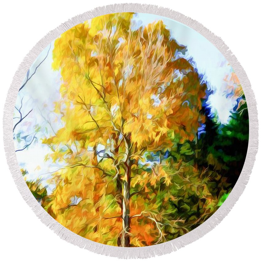 Sunlight Round Beach Towel featuring the painting Beautiful Autumn Trees by Jeelan Clark