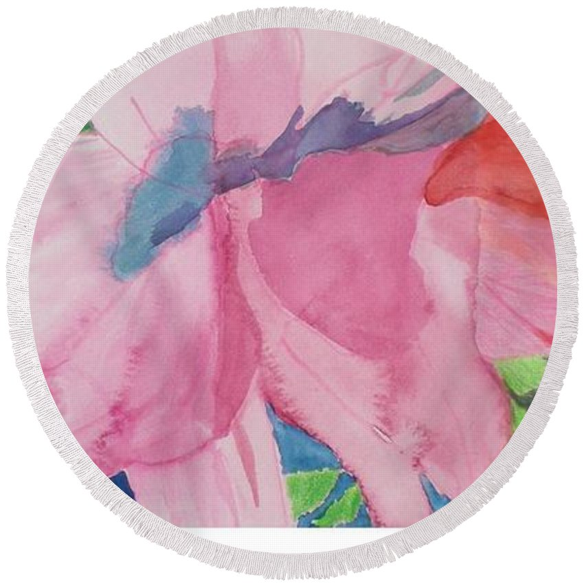 Flower Round Beach Towel featuring the painting Beautiful Azalea by Hal Newhouser