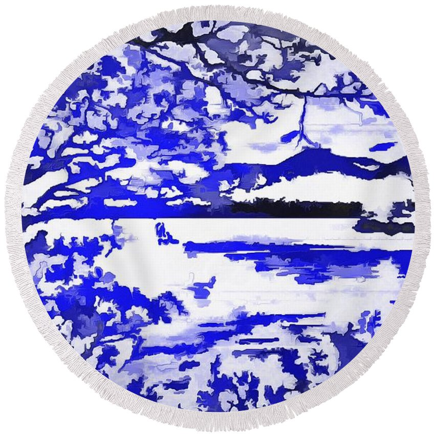 Beautiul Blue Pop Art Scene Round Beach Towel featuring the digital art Beautiful Blue Pop Art Scene by Catherine Lott